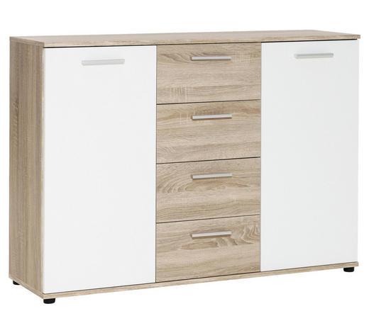 KOMMODE 121/85/35 cm - Eichefarben/Silberfarben, Basics, Holzwerkstoff/Kunststoff (121/85/35cm) - Carryhome