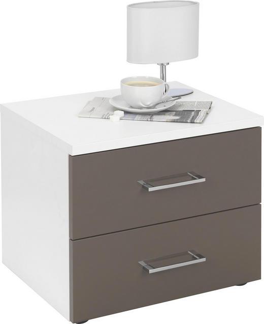 NACHTKÄSTCHEN Hochglanz Braun, Weiß - Chromfarben/Schwarz, Design, Kunststoff/Metall (50,2/42,5/39,5cm) - CARRYHOME