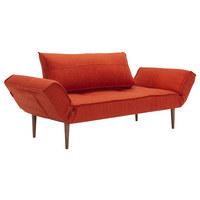 SCHLAFSOFA in Textil Orange  - Dunkelbraun/Orange, Design, Holz/Textil (200/81/70cm) - Innovation