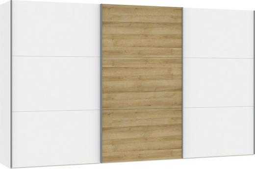 SCHWEBETÜRENSCHRANK in Weiß, Eichefarben - Eichefarben/Silberfarben, Design, Holzwerkstoff/Metall (378,6/220/65cm) - Jutzler