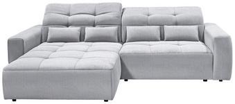 WOHNLANDSCHAFT in Textil Hellgrau  - Hellgrau/Schwarz, MODERN, Kunststoff/Textil (202/298cm) - Hom`in