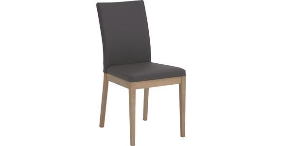 STUHL Lederlook Eiche furniert Braun, Eichefarben - Eichefarben/Braun, Natur, Holz/Textil (47/95/47cm) - Cantus