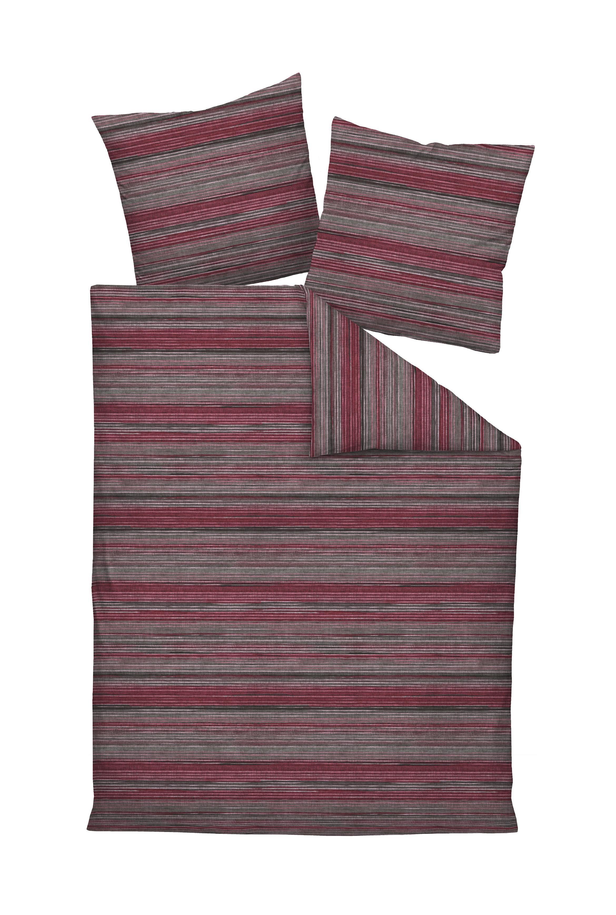 Bettwasche Makosatin Grau Rosa Dunkelrot 155 220 Cm Online Kaufen Xxxlutz