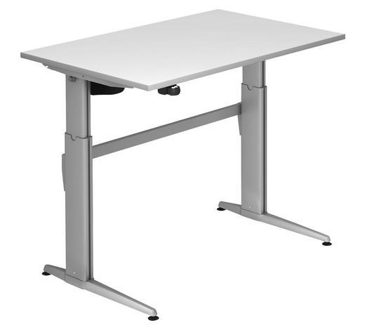 SCHREIBTISCH - Silberfarben/Weiß, KONVENTIONELL, Holzwerkstoff/Metall (120/72-119/80cm)
