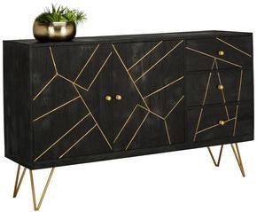 SIDEBOARD - svart/guldfärgad, Trend, metall/trä (145/88/43cm) - Carryhome