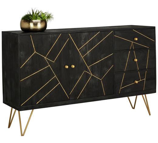 SIDEBOARD Akazie massiv lackiert, gebeizt, sandgestrahlt Schwarz, Goldfarben  - Goldfarben/Schwarz, Trend, Holz/Metall (145/88/43cm) - Ambia Home