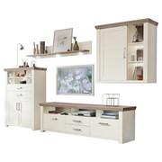 WOHNWAND Eichefarben, Weiß - Eichefarben/Alufarben, Design, Holzwerkstoff/Metall (74,5/206,6/42,2cm) - SET ONE BY MUSTERRIN