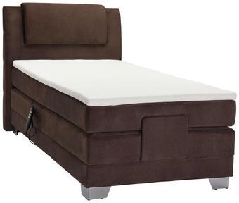 POSTEL BOXSPRING, 100 cm  x 200 cm, textil, tmavě hnědá - tmavě hnědá/barvy stříbra, Konvenční, textil/umělá hmota (100/200cm) - Esposa