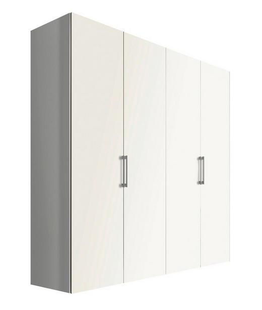 DREHTÜRENSCHRANK 4-türig Weiß - Alufarben/Weiß, KONVENTIONELL, Holzwerkstoff/Metall (200/216/58cm) - Hom`in