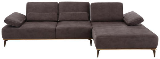 WOHNLANDSCHAFT Mikrofaser Rücken echt - Beige/Braun, Design, Textil/Metall (298/178cm) - Valnatura