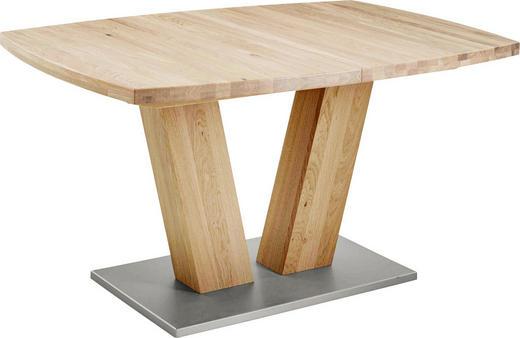 ESSTISCH Eiche massiv bootsförmig Eichefarben - Eichefarben, Design, Holz (140(220)/90/75cm) - Valdera