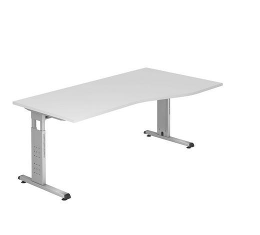 SCHREIBTISCH - Silberfarben/Zwetschgefarben, KONVENTIONELL, Holzwerkstoff/Metall (100/180cm)