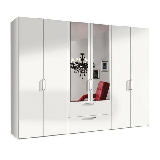 DREHTÜRENSCHRANK 6-türig Weiß - Alufarben/Weiß, KONVENTIONELL, Glas/Holzwerkstoff (300/216/58cm) - Hom`in