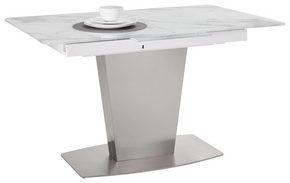 MATBORD - vit/rostfritt stål-färgad, Design, metall/glas (130(170)/80/76cm) - Novel