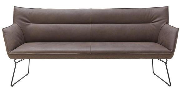 SITZBANK in Metall, Textil, Leder Braun, Schwarz, Dunkelbraun  - Dunkelbraun/Schwarz, Design, Leder/Textil (208/95/68cm) - Ambiente