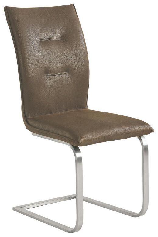 SCHWINGSTUHL Lederlook Chromfarben, Dunkelbraun - Chromfarben/Beige, Design, Textil/Metall (46/62/96cm) - NOVEL