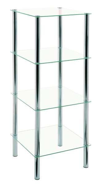 REGAL Klar - Klar/Chromfarben, Design, Glas/Metall (39/107/39cm)