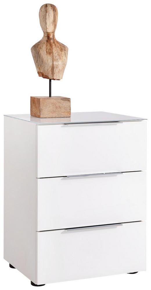 KOMMODE Weiß - Alufarben/Schwarz, Basics, Glas/Kunststoff (45,1/60,3/40cm)