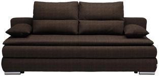 SCHLAFSOFA Webstoff Dunkelbraun - Dunkelbraun/Silberfarben, KONVENTIONELL, Kunststoff/Textil (207/94/90cm) - Venda