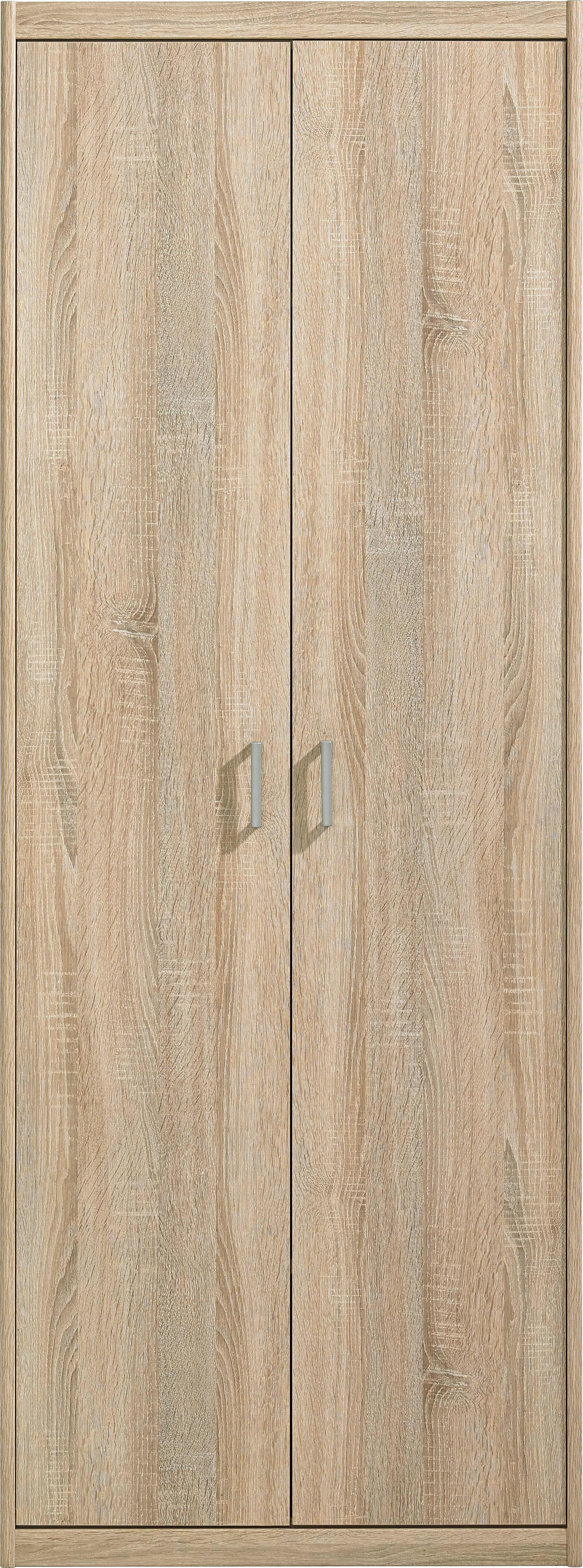 KLEIDERSCHRANK in Eichefarben - Eichefarben/Silberfarben, KONVENTIONELL, Holzwerkstoff/Kunststoff (72/194/54cm) - CS SCHMAL