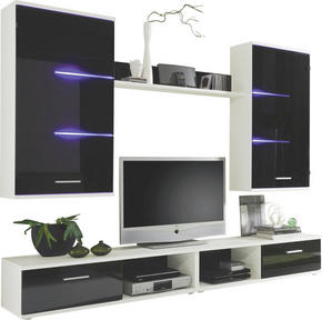 HYLLKOMBINATION - vit/silver, Design, glas/träbaserade material (230/190/40cm) - Carryhome