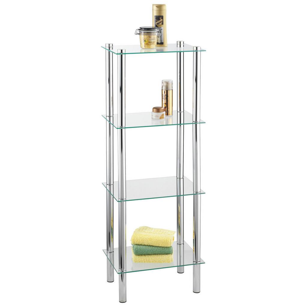 XXXL BADEZIMMERREGAL Glas, Metall Silber