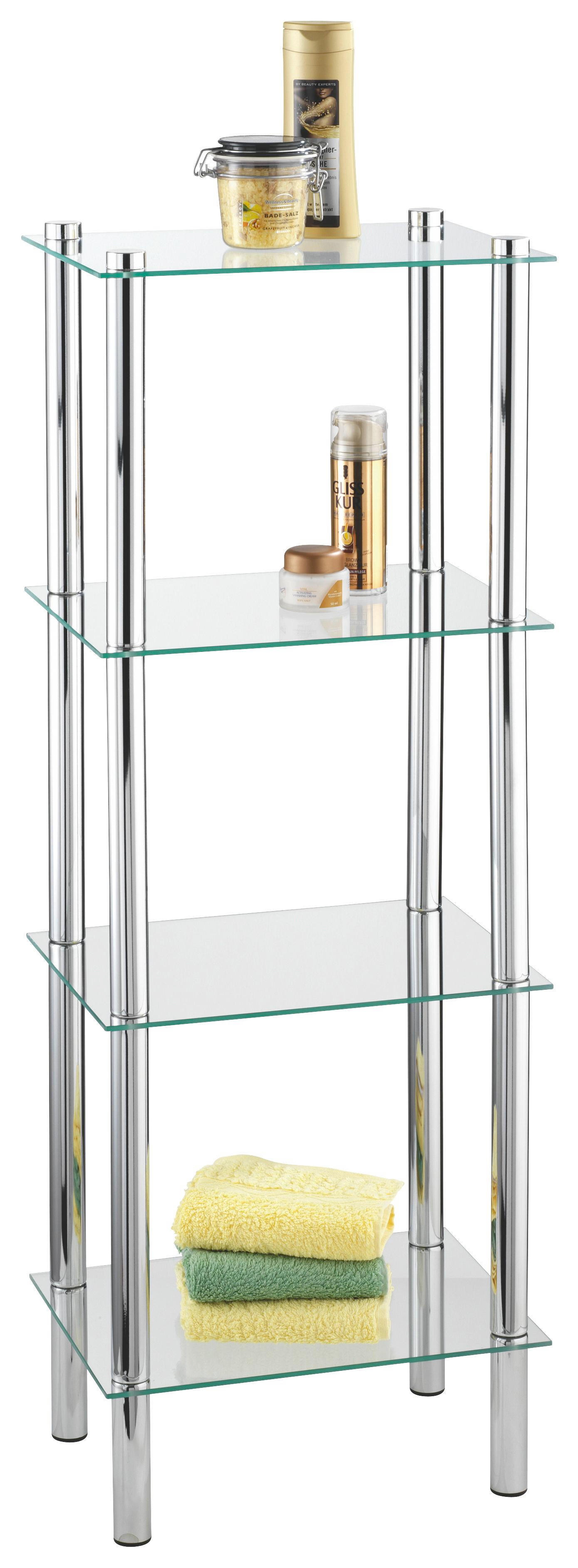 BADEZIMMERREGAL Glas, Metall Chromfarben   Chromfarben, Design, Glas/Metall  (40/