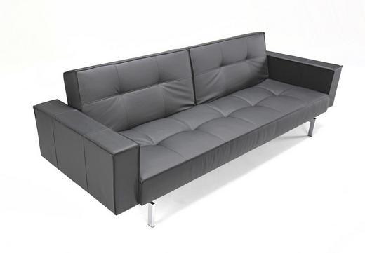 SCHLAFSOFA Schwarz - Silberfarben/Schwarz, Design, Textil (243/79/115cm) - Innovation