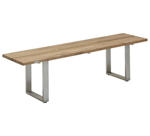 GARTENBANK in Edelstahlfarben, Teakfarben  - Edelstahlfarben/Teakfarben, Design, Holz/Metall (160/46/40cm)