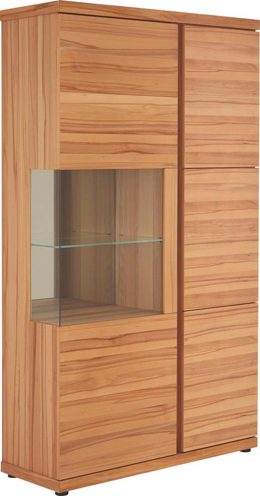 VITRINE Kernbuche furniert, mehrschichtige Massivholzplatte (Tischlerplatte) Buchefarben - Buchefarben, Design, Glas/Holz (115/206/43cm) - Venjakob