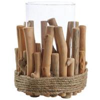 WINDLICHT - Klar/Naturfarben, Natur, Glas/Holzwerkstoff (18/23cm) - Ambia Home