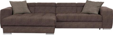 WOHNLANDSCHAFT in Textil Taupe - Taupe/Chromfarben, Design, Kunststoff/Textil (186/329cm) - Hom`in
