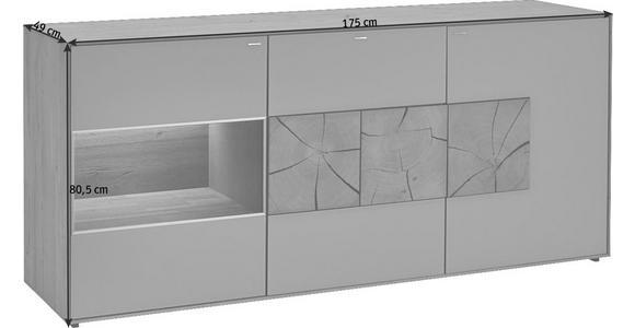 SIDEBOARD Kerneiche vollmassiv gebürstet, gewachst, lackiert, matt Eichefarben, Fango - Fango/Eichefarben, Design, Glas/Holz (175/81/49cm) - Valnatura