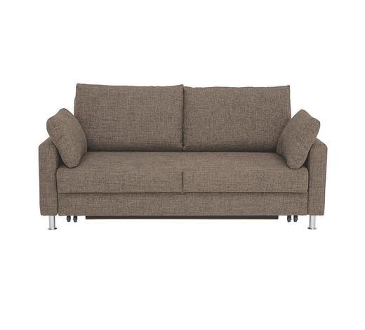 SCHLAFSOFA Webstoff Braun, Beige - Chromfarben/Beige, KONVENTIONELL, Textil/Metall (186/90/95cm) - Bali