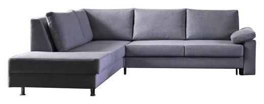 ECKSCHLAFSOFA Grau - Chromfarben/Grau, Design, Textil/Metall (260/90/245cm) - Bali