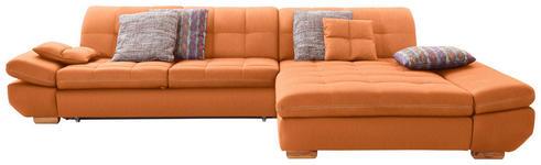 WOHNLANDSCHAFT in Textil Orange  - Eichefarben/Beige, Natur, Holz/Textil (341/204cm) - Xora