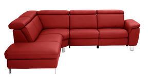 WOHNLANDSCHAFT in Leder Rot  - Rot/Alufarben, Design, Leder/Metall (242/271cm) - Cantus