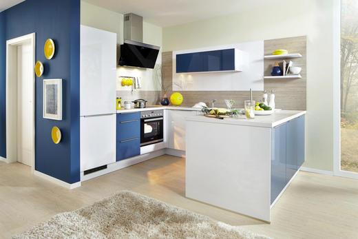 EINBAUKÜCHE - Blau/Weiß, Design, Holz - Moderano