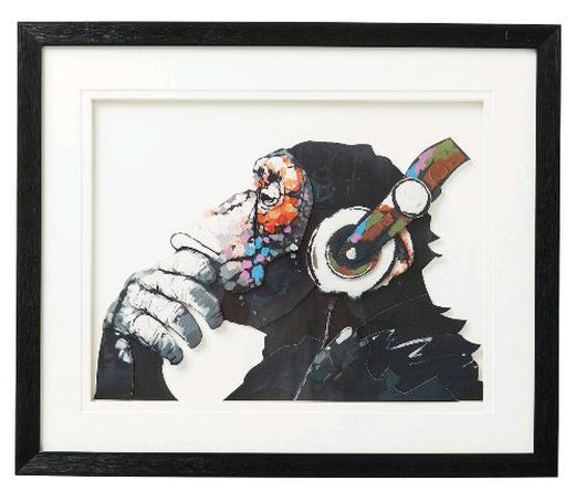 Tiere BILD - Multicolor/Schwarz, MODERN, Glas/Papier (60/50/4cm) - Kare-Design
