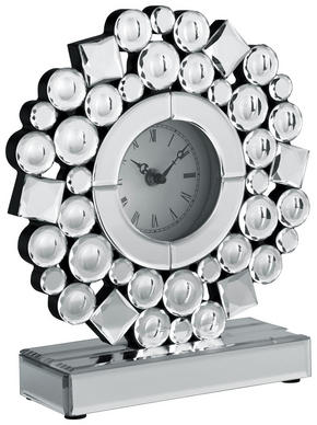 BORDSKLOCKA - klar/silver, Design, glas/träbaserade material (25/28/8cm) - Ambia Home
