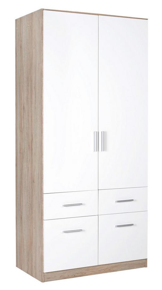 KLEIDERSCHRANK in Eichefarben, Weiß - Eichefarben/Alufarben, KONVENTIONELL, Holzwerkstoff/Kunststoff (91/197/54cm) - Carryhome