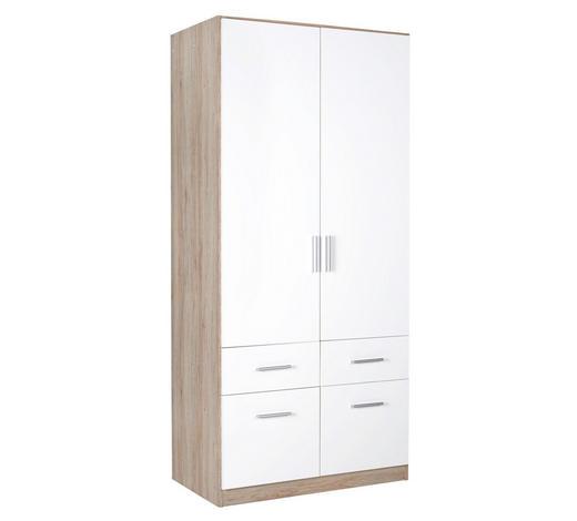 KLEIDERSCHRANK in Weiß, Eichefarben - Eichefarben/Alufarben, KONVENTIONELL, Holzwerkstoff/Kunststoff (91/197/54cm) - Carryhome