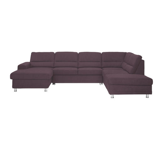 WOHNLANDSCHAFT Violett Webstoff  - Violett/Silberfarben, KONVENTIONELL, Textil/Metall (166/311/234cm) - Beldomo System