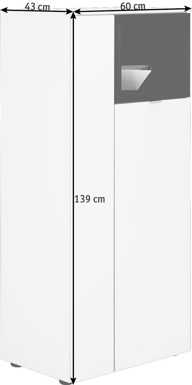 HIGHBOARD in furniert Nussbaum Nussbaumfarben, Weiß - Nussbaumfarben/Alufarben, Design, Holz/Holzwerkstoff (60/139/43cm) - VENJAKOB