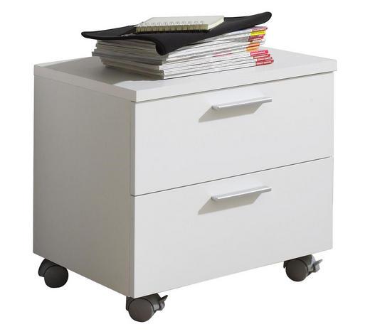 ROLLCONTAINER - Silberfarben/Weiß, Design, Holzwerkstoff/Kunststoff (51/43/39cm) - Carryhome