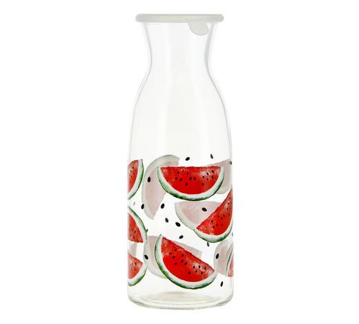 KARAFFE 1 L - Klar/Rot, Trend, Glas/Kunststoff (7,6/13,3cm)