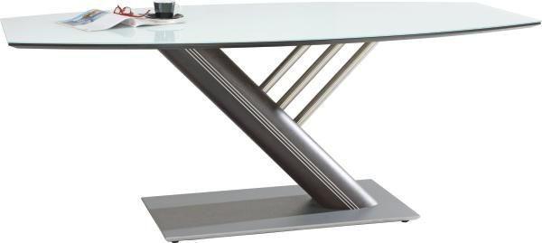 ESSTISCH Wenge furniert bootsförmig Silberfarben, Wengefarben - Wengefarben/Silberfarben, Design, Glas/Holz (195/75/95cm) - MUSTERRING