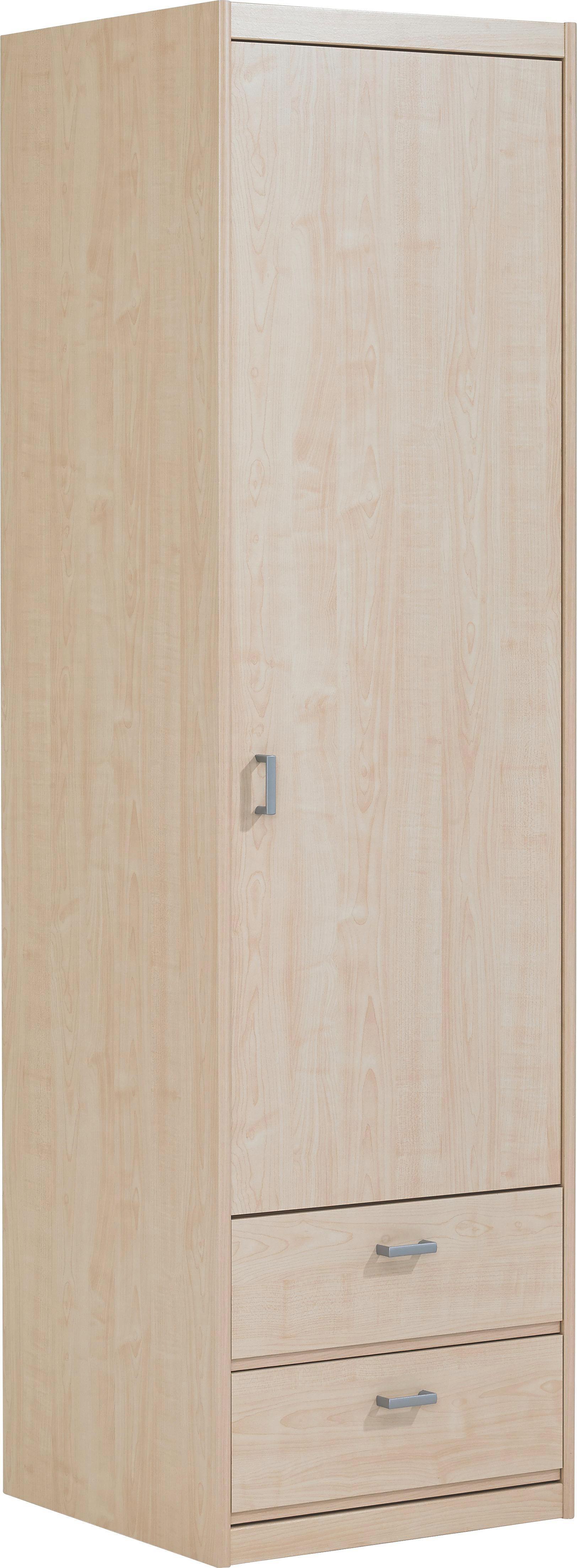 KLEIDERSCHRANK in Ahornfarben - Silberfarben/Ahornfarben, KONVENTIONELL, Holzwerkstoff/Kunststoff (55/194/54cm) - CS SCHMAL