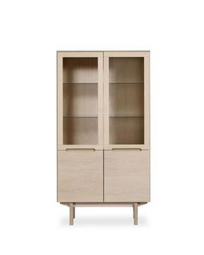 VITRINSKÅP - vit/ekfärgad, Design, glas/trä (98/182/41cm) - Skovby