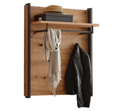 Garderobenpaneel - Eichefarben/Grau, Trend, Holzwerkstoff/Metall (87,1/99,8/30,6cm) - Hom`in